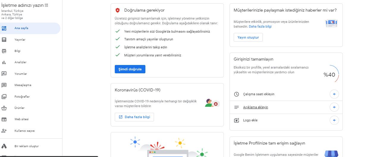 Google işletme Doğrulama