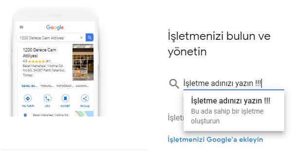 Google işletme Kayıt